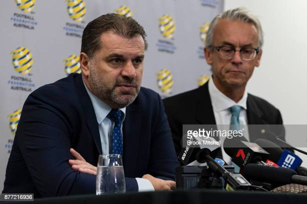 Ange Postecoglou , with FFA chief executive David Gallop, announces he will step aside from his role as coach of the Socceroos during a FFA Socceroos...