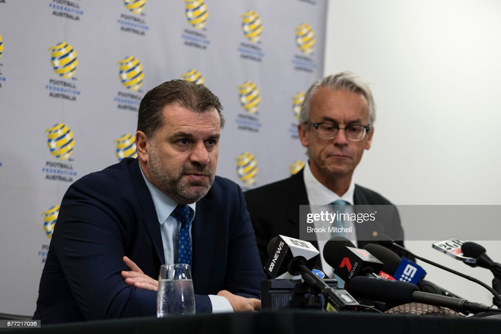 Ange Postecoglou (L), with FFA chief executive David Gallop, announces he will step aside from his role as coach of the Socceroos during a FFA Socceroos press conference at Sydney Cricket Ground on November 22, 2017 in Sydney, Australia.