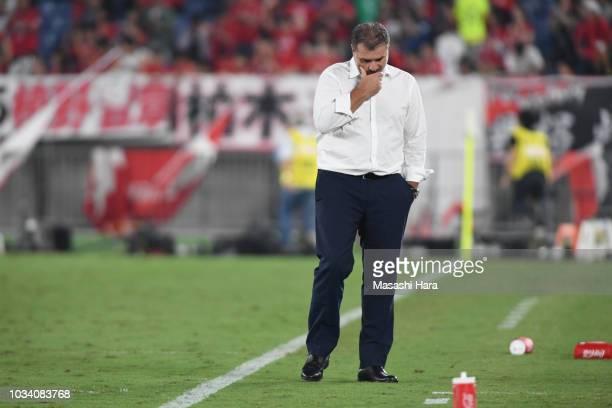 Ange Postecogloucoach of Yokohama FMarinos looks on after the JLeague J1 match between Yokohama FMarinos and Urawa Red Diamonds at Nissan Stadium on...