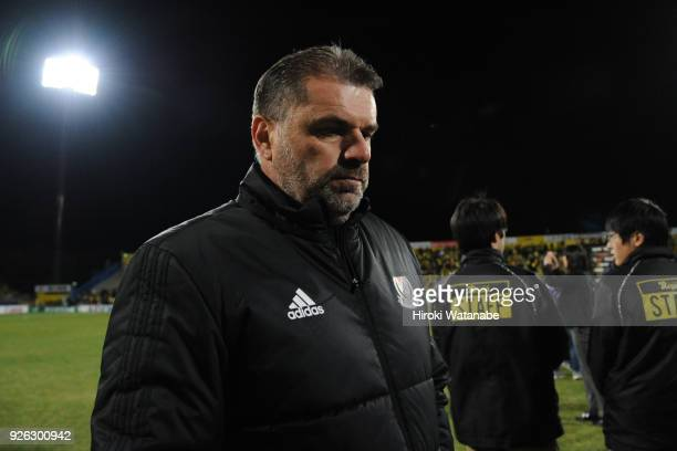 Ange Postecogloucoach of Yokohama FMarinos looks on after the JLeague J1 match between Kashiwa Reysol and Yokohama FMarinos at Sankyo Frontier...