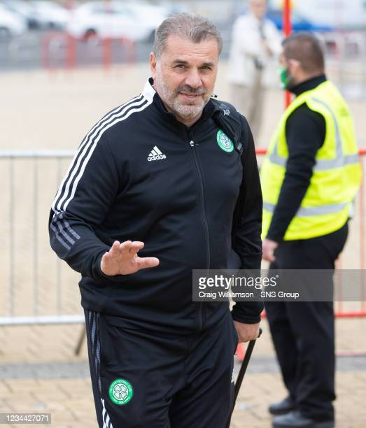 Ange Postecoglu is pictured as Celtic depart for their Europa League tie against Jablonec, at Celtic Park, on August 03 in Glasgow, Scotland.