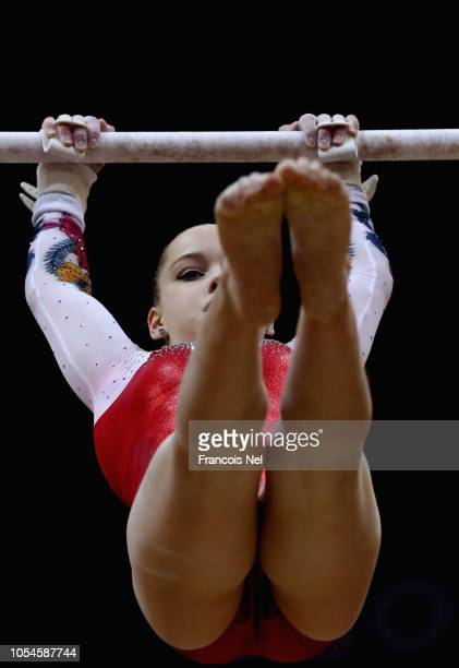 Angekina Melnikova of Russia competes in the Women's Uneven Bar Qualification during day four of the 2018 FIG Artistic Gymnastics Championships at...