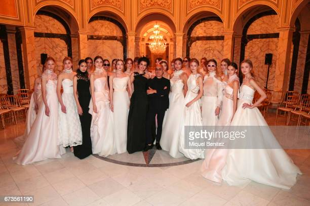 Angel Aguilar and models pose at the Angel Sanchez show during Barcelona Bridal Night during Barcelona Bridal Fashion Week 2017 at the Palau de...