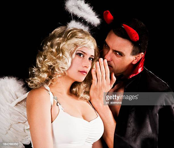 angel and devil - male angel stock photos and pictures