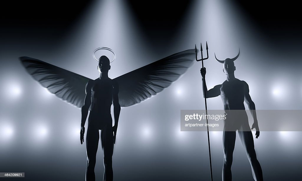 Angel and devil standing next to each other : Stock Photo