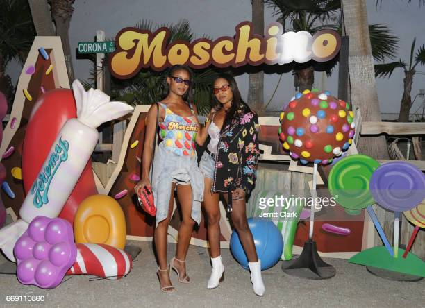 Angel and Dren attend the Moschino Candy Crush Desert Party hosted by Jeremy Scott on April 15 2017 in Coachella California