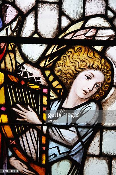 angel with harp stock photos and pictures getty images