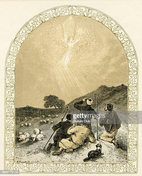 Angel appears to shepherds nativity scene Illustration by Birket Foster 1872 The angel heralds the birth of Jesus in Bethlehem