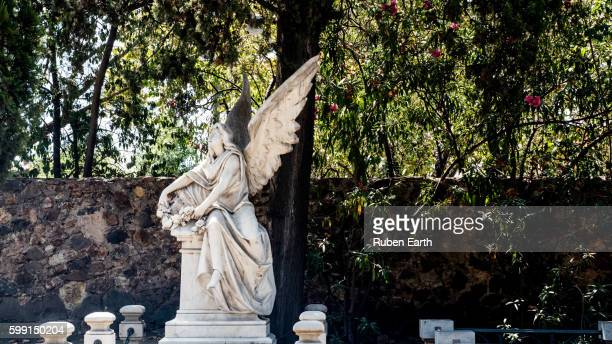 angel at the cemetery - earth angel stock pictures, royalty-free photos & images