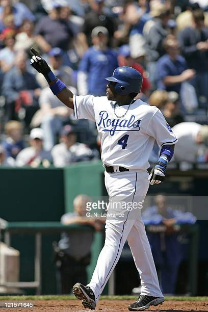 Angel Berroa of the Kansas City Royals acknowledges the crowd after hitting a home run during action against the Minnesota Twins at Kauffman Stadium...