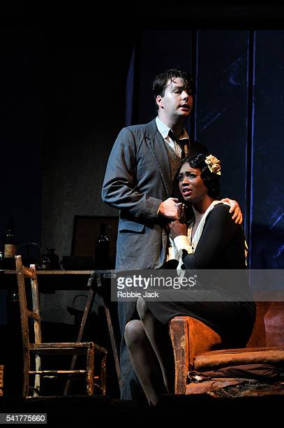 Angel Blue as Mimi and David Butt Philip as Rodolfo in English National Opera's production of Giacomo Puccini's La Boheme directed by Jonathan Miller...
