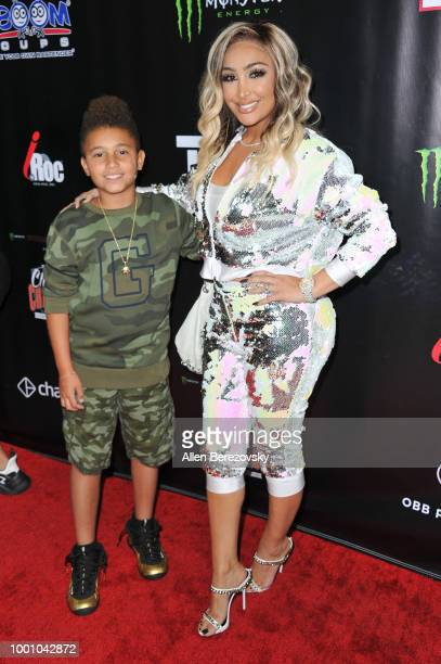 Angel Brinks attends Monster Energy Outbreak $50K Charity Challenge celebrity basketball game at UCLA on July 17 2018 in Los Angeles California