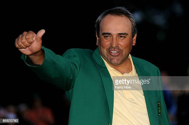 Angel Cabrera of Argentina celebrates during the green jacket presentation after defeating Kenny Perry on the second sudden death playoff hole to win...
