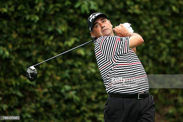 Angel Cabrera of Argentina hits a tee shot on the second hole during the second round of the 2013 Masters Tournament at Augusta National Golf Club on...
