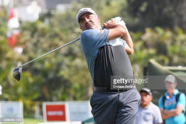 Angel Cabrera of Argentina hits a tee shot on the tenth hole prior to the PGA TOUR Latinoamerica Diners Club Peru Open presentado por Lexus at Los...