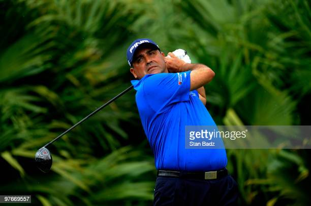 Angel Cabrera of Argentina hits from the eighth tee box during the second round of the World Golf Championships-CA Championship at Doral Golf Resort...