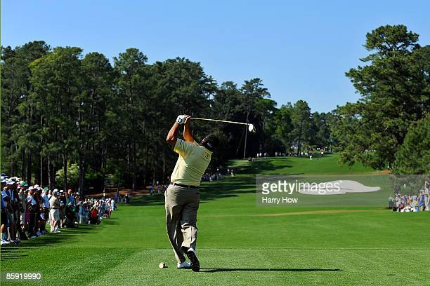 Angel Cabrera of Argentina hits his tee shot on the eighth hole during the final round of the 2009 Masters Tournament at Augusta National Golf Club...