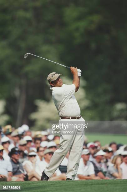 Angel Cabrera of Argentina keeps his eye on the ball as he hits from the fairway on 7 April 2001 during the US Masters Golf Tournament at the Augusta...