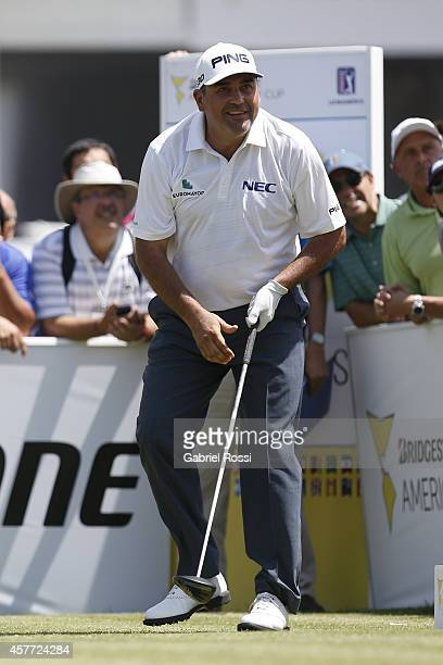 Angel Cabrera of Argentina looks at his ball after his tee off on the first hole during the first round of America's Golf Cup as part of PGA...