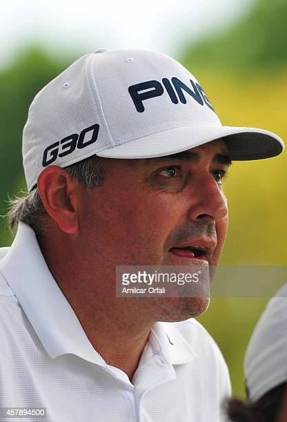 Angel Cabrera of Argentina looks on during the final round of the America's Golf Cup as part of PGA Latinoamerica tour at Olivos Golf Club on October...