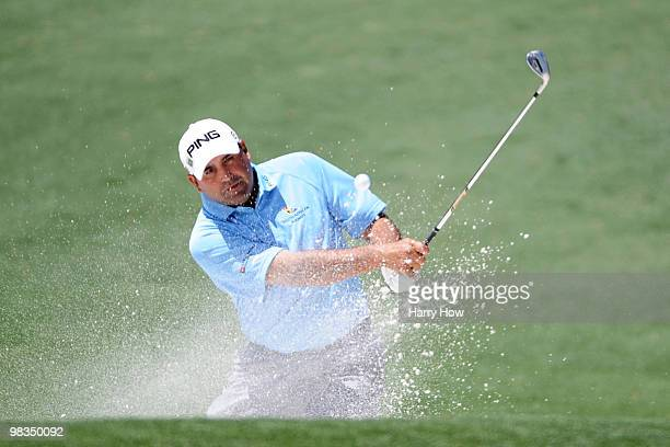 Angel Cabrera of Argentina plays a bunker shot on the second hole during the second round of the 2010 Masters Tournament at Augusta National Golf...