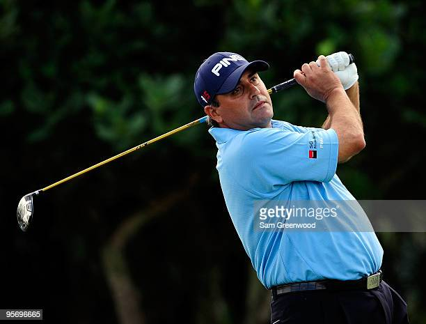 Angel Cabrera of Argentina plays a shot on the first hole during the first round of the SBS Championship at the Plantation course on January 7, 2010...