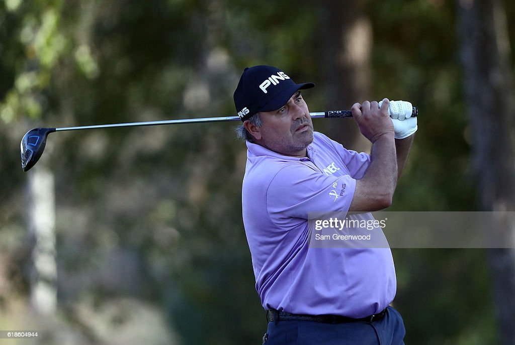 Angel Cabrera of Argentina plays his shot from the 18th tee during the First Round of the Sanderson Farms Championship at the Country Club of Jackson on October 27, 2016 in Jackson, Mississippi.