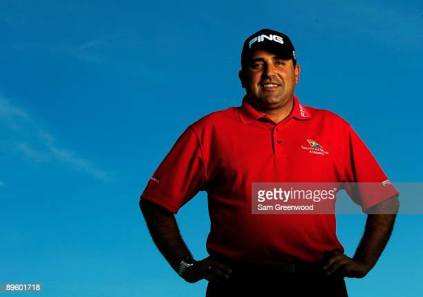 Angel Cabrera of Argentina poses for a portrait prior to the WGC-Bridgestone Invitational on the South Course at Firestone Country Club on August 4,...