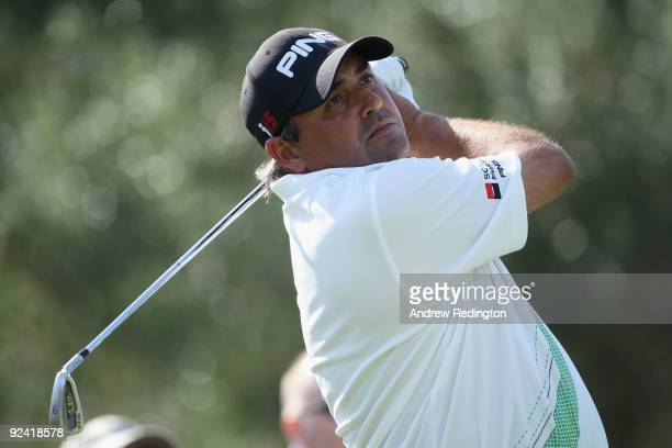 Angel Cabrera of Argentina tees off during the Pro-Am round prior to the Volvo World Match Play Championship at Finca Cortesin on October 28, 2009 in...