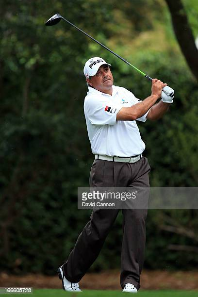 Angel Cabrera of Argentina tees off on the second hole during the final round of the 2013 Masters Tournament at Augusta National Golf Club on April...