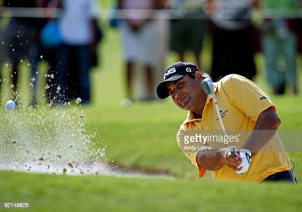 Angel Cabrera of Argentina the 2009 Masters champion, hits his third shot on the 2nd hole during the final round of the PGA Grand Slam of Golf on...