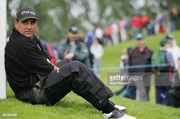 Angel Cabrera of Argentina waits to play the par par three 11th hole during the second round of The JP McManus Invitational ProAm event at the Adare...
