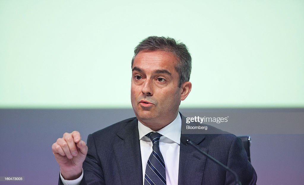 Angel Cano, president and chief operating officer of Banco Bilbao Vizcaya Argentaria SA (BBVA), speaks during a news conference to announce the company's fourth-quarter results in Madrid, Spain, on Friday, Feb. 1, 2013. BBVA, Spain's second-biggest bank, posted a 20 million-euro ($27.3 million) fourth-quarter profit as a revenue boost offset costs of completing a cleanup of Spanish real estate assets. Photographer: Angel Navarrete/Bloomberg via Getty Images