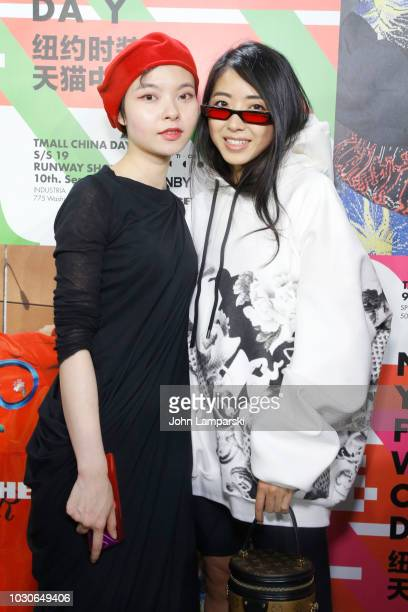 Angel Chen and Yeo Yeo Zhang Zou pose backstage for the Angel Chen show during New York Fashion Week The Shows at Industria Studios on September 10...