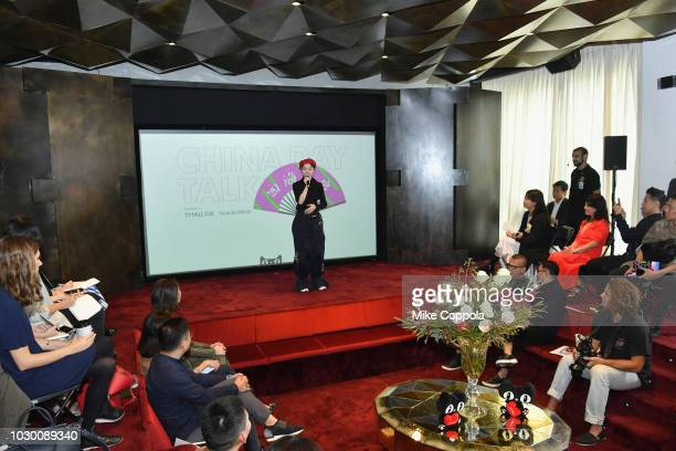 Angel Chen Founder of Angel Chen speaks at the Tmall China Day press conference in the sunken living room during New York Fashion Week The Shows on...