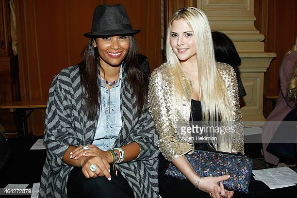 Angel Chow Toun and Kelly Vedovelli attend the Oscar Carvallo show as part of Paris Fashion Week Haute Couture Spring/Summer 2014 on January 21 2014...