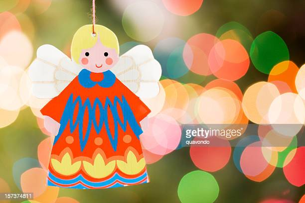 Angel Christmas Ornament with Tree Lights, Copy Space