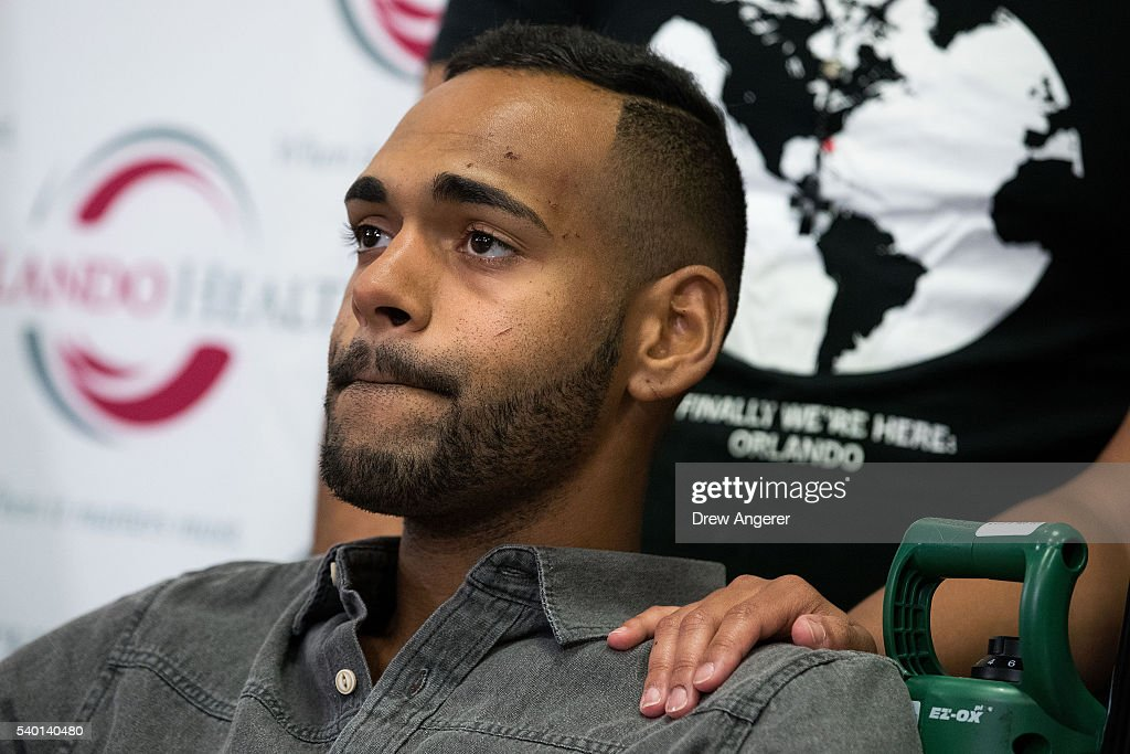 Angel Colon, who was injured in the Pulse Nightclub shooting, speaks to the media during a press conference at Orlando Regional Medical Center, June 14, 2016 in Orlando, Florida. The shooting at Pulse Nightclub, which killed 49 people and injured 53, is the worst mass-shooting event in American history.