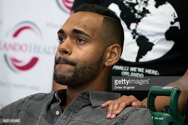 Angel Colon who was injured in the Pulse Nightclub shooting speaks to the media during a press conference at Orlando Regional Medical Center June 14...