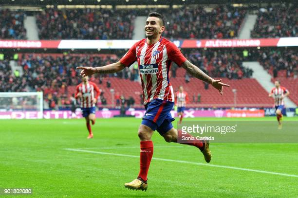 Angel Correa #11 of Atletico de Madrid scores to make it 10 during the La Liga match between Club Atletico de Madrid and Getafe at Wanda...