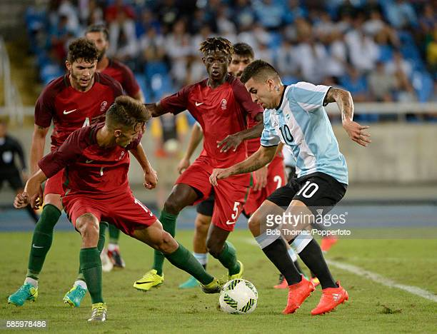 Angel Correa in action for Argentina during the Men's Group D first round match between Portugal and Argentina during the Rio 2016 Olympic Games at...
