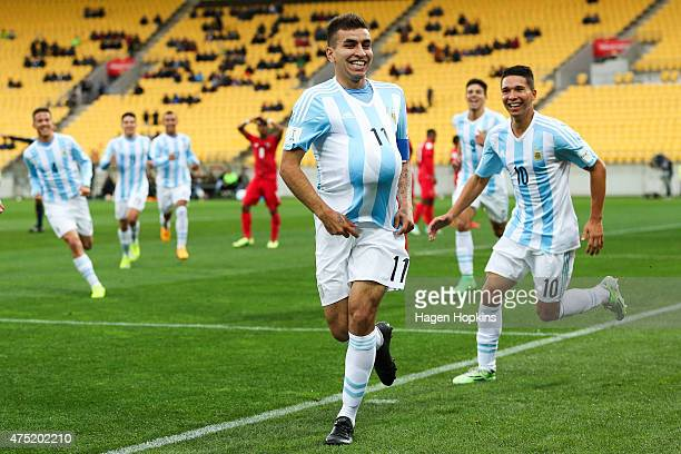 Angel Correa of Argentina celebrates his goal during the Group B FIFA U20 World Cup New Zealand 2015 match between Argentina and Panama at Wellington...