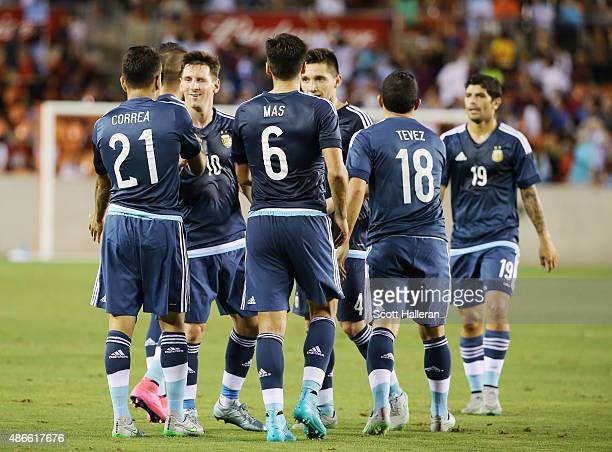 Angel Correa of Argentina celebrates with his teammates after Correa scored a goal against Bolivia during their International friendly match at BBVA...