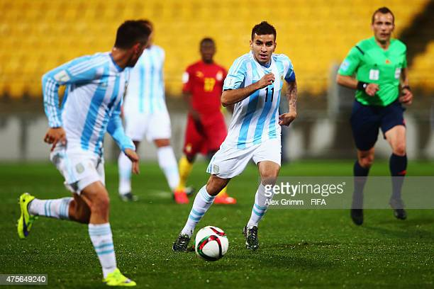 Angel Correa of Argentina controles the ball during the FIFA U20 World Cup New Zealand 2015 Group B match between Argentina and Ghana at Wellington...