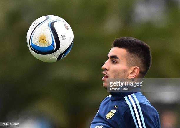 Angel Correa of Argentina controls the ball during a training session at Argentine Football Association 'Julio Humberto Grondona' training camp on...