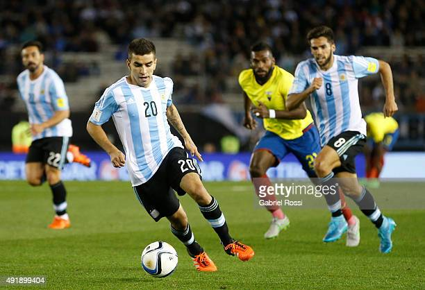 Angel Correa of Argentina drives the ball during a match between Argentina and Ecuador as part of FIFA 2018 World Cup Qualifier at Monumental Antonio...