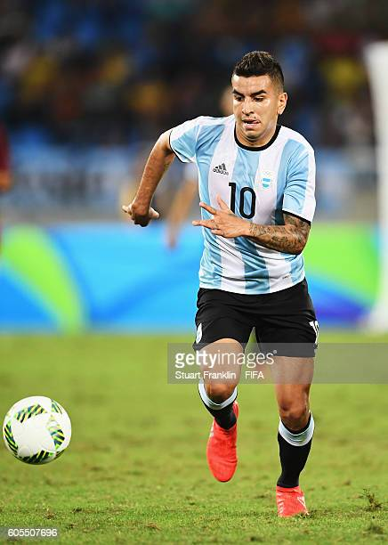 Angel Correa of Argentina in action during the Olympic Men's Football match between Portugal and Argentina at Olympic Stadium on August 4 2016 in Rio...
