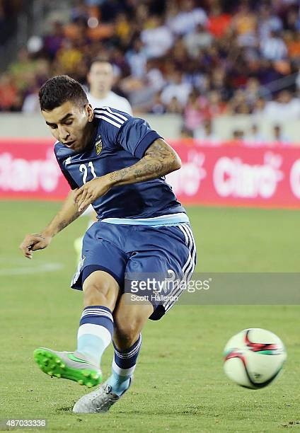 Angel Correa of Argentina in action on the field during their International friendly match against Bolivia at BBVA Compass Stadium on September 4...