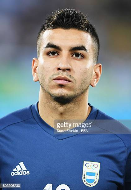 Angel Correa of Argentina looks on during the Olympic Men's Football match between Argentina and Algeria at Olympic Stadium on August 7 2016 in Rio...