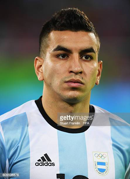 Angel Correa of Argentina looks on during the Olympic Men's Football match between Portugal and Argentina at Olympic Stadium on August 4 2016 in Rio...